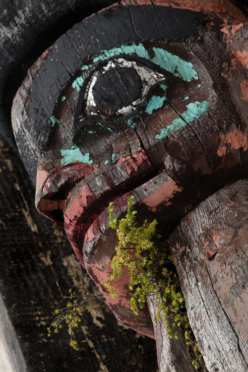 close up of a figure on a totem pole, Klawock, Alaska