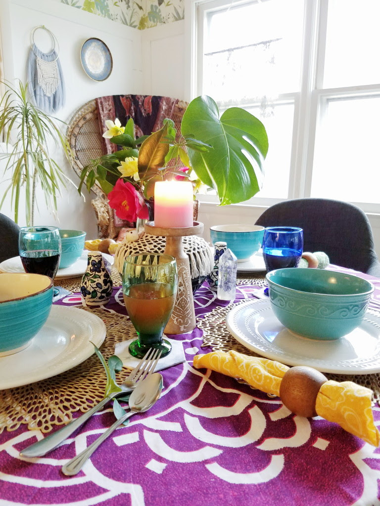 Whimsical Bohemian spring tablescape