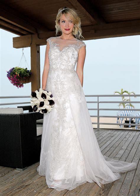 Oleg Cassini Vintage Cap Sleeve A Line Wedding Gown