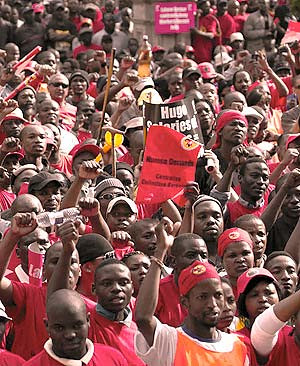 A huge rally for the striking National Union of Metalworkers of South Africa (NUMSA). The 200,000 workers strike has spread to other industries including chemicals and may affect mining. by Pan-African News Wire File Photos