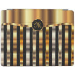 Monogram Black & Gold Metallic Stripes iPad Cover