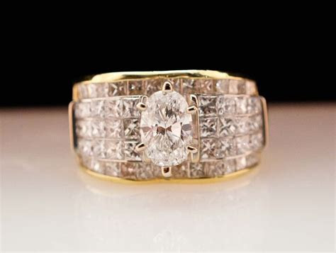 Vintage Diamond Engagement Ring   18k Yellow Gold   Wide
