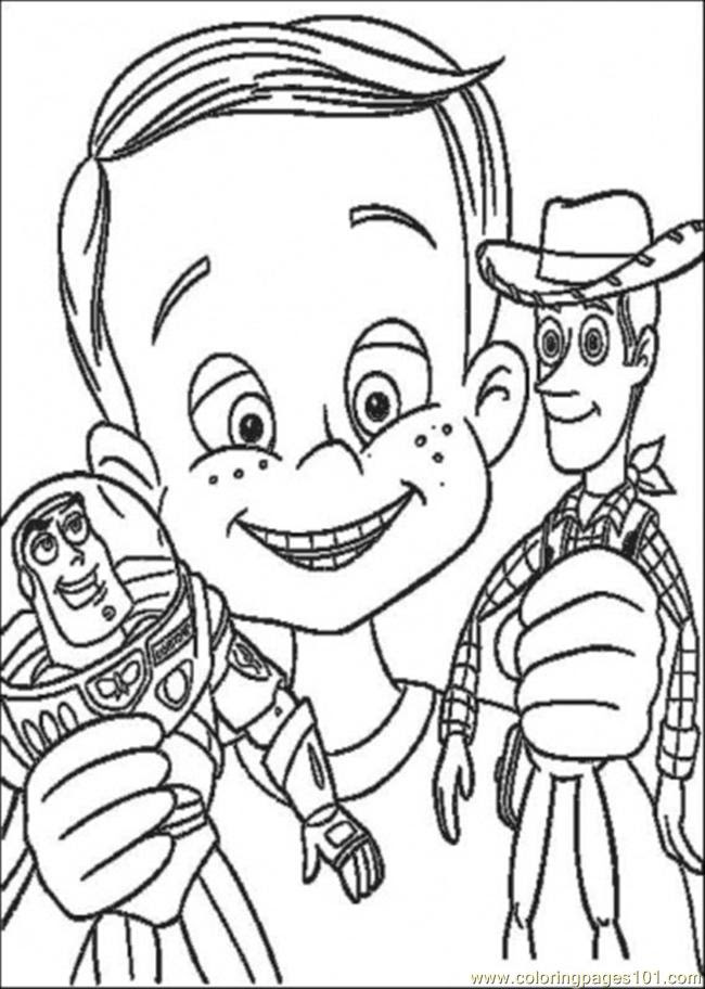 Andy Have Buzz Lighyear And Woody Sheriff Coloring Page ...