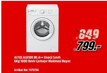 ALTUS AL6100 ML A++ Enerji Sınıfı 6Kg 1000 Devir Çamaşır Makinesi Beyaz 799TL
