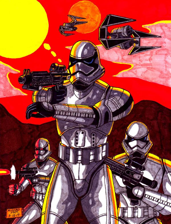 My own drawing of Stormtroopers (and TIE Raiders, which I made up) from STAR WARS: EPISODE VII.