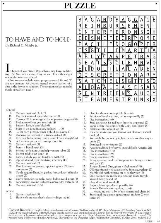 February 2015 | Harper's Cryptic puzzle solution