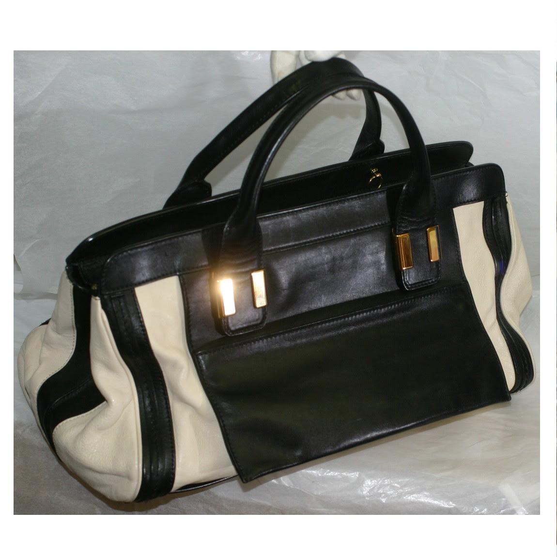 中古 バッグ 本物綺麗クロエ女性用黒xアイボリー色革素材丈夫な作りの