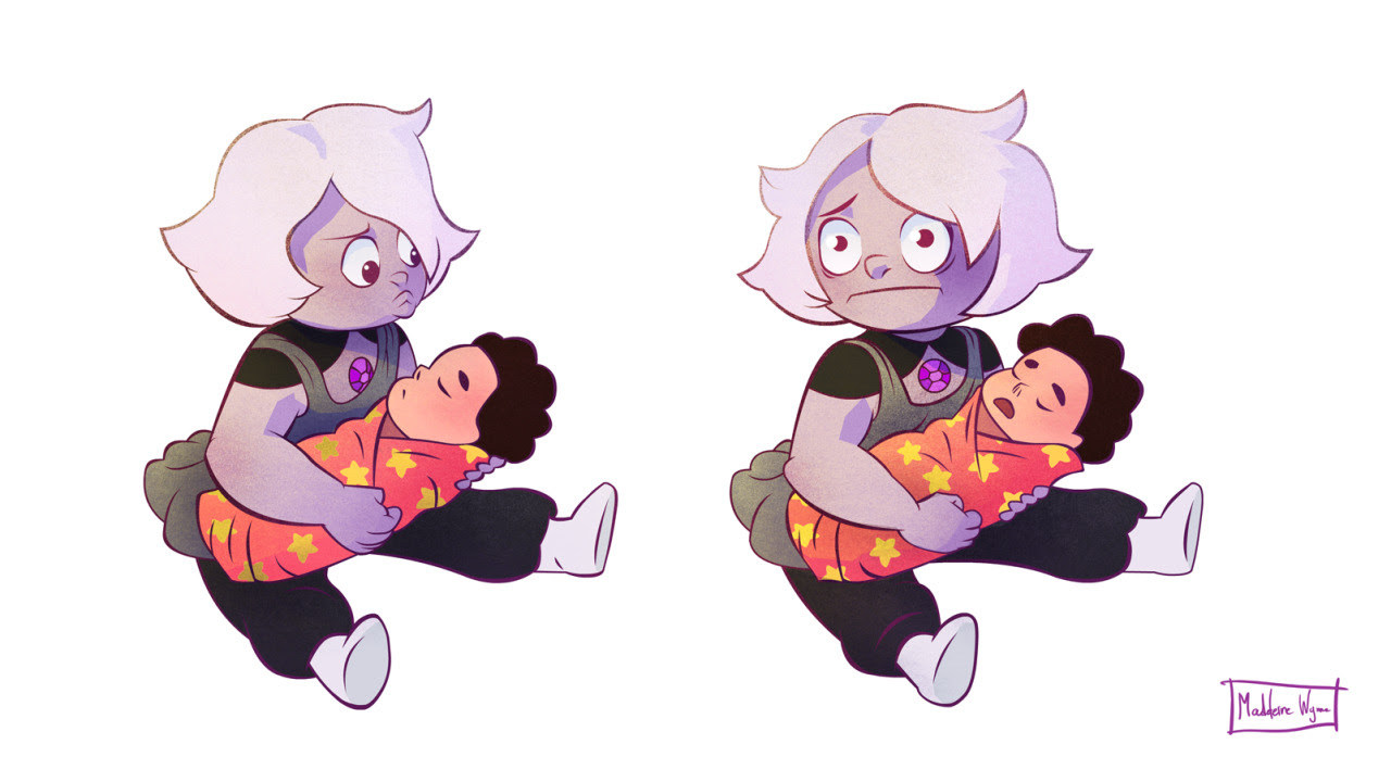 Amethyst meeting baby Steven. She's feeling a bit conflicted.