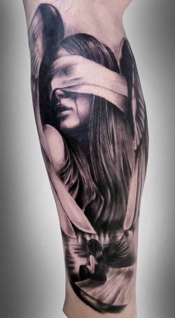Black Ink Girl Portrait Tattoo On Leg Sleeve