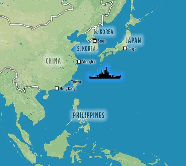 This map shows where theUSS Carl Vinson is currently said to be located as part of naval exercises with Japan