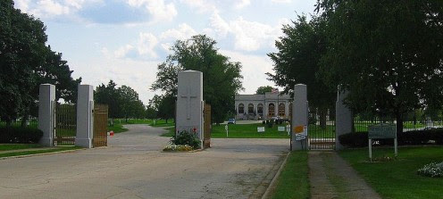 Resurrection Cemetery in Justice, Illinois - made famous by the ghost story of Resurrection Mary. (Photo Wikimedia Commons.)