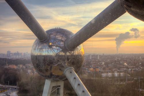 Atomium Sphere at Sunset
