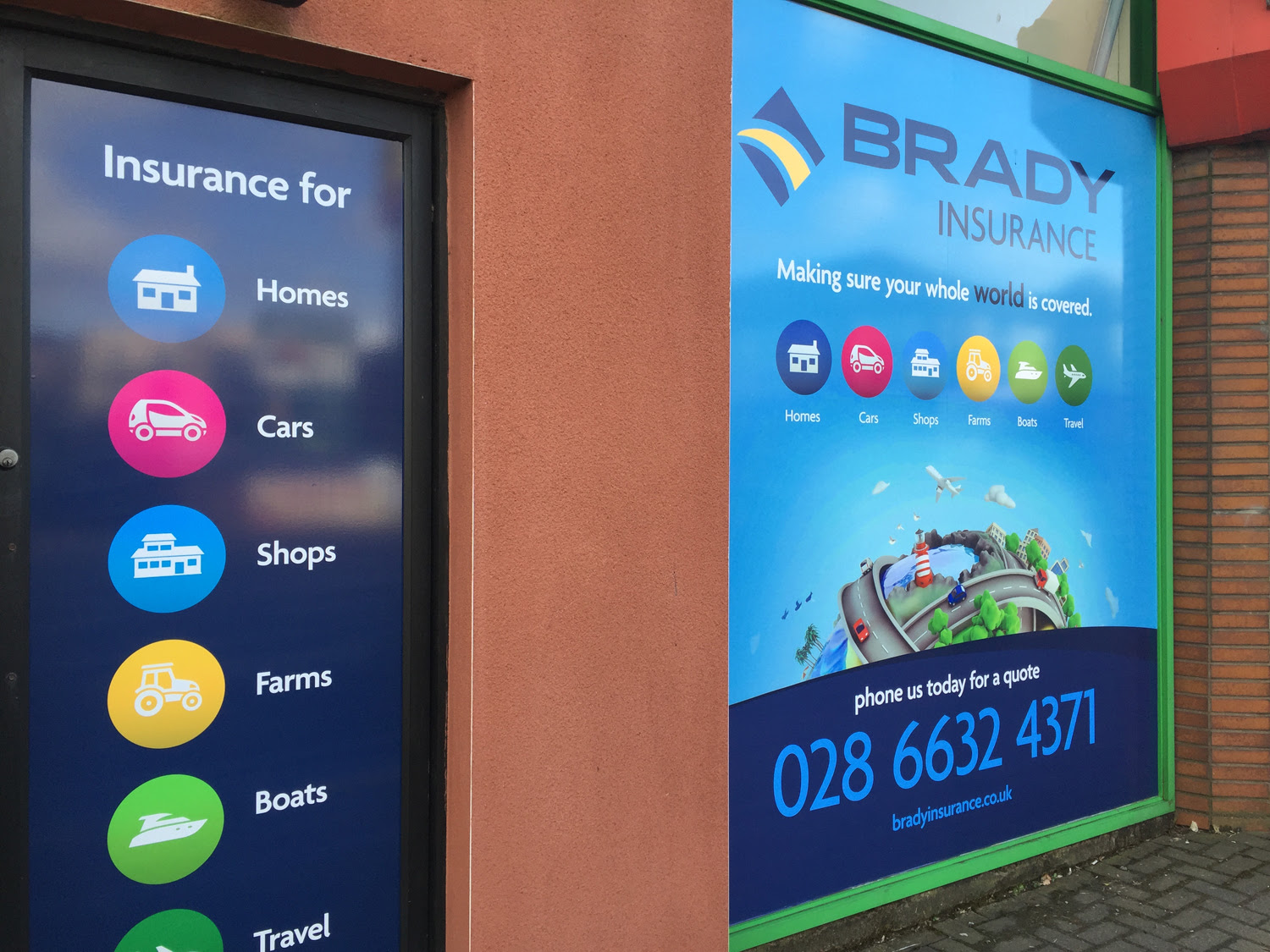 New Signage and Window Graphics for Brady Insurance | Le ...