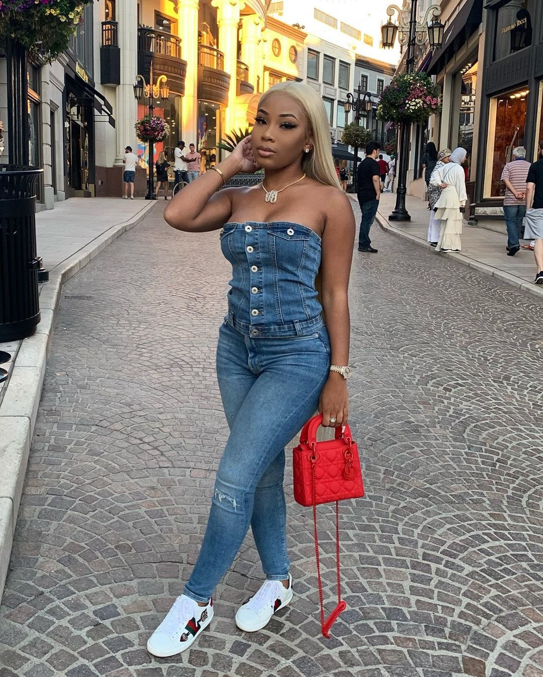 aaliyah jay was stylish in this fashion nova denim tube