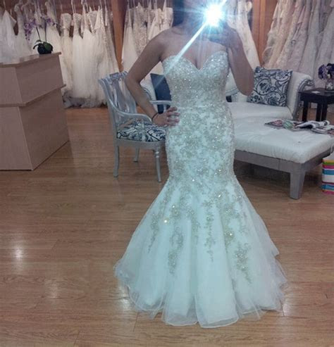 Shiny Mermaid Wedding Dresses Crystal Rhinestone