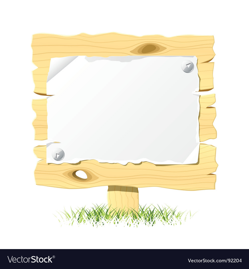 Wooden billboard with blank paper vector