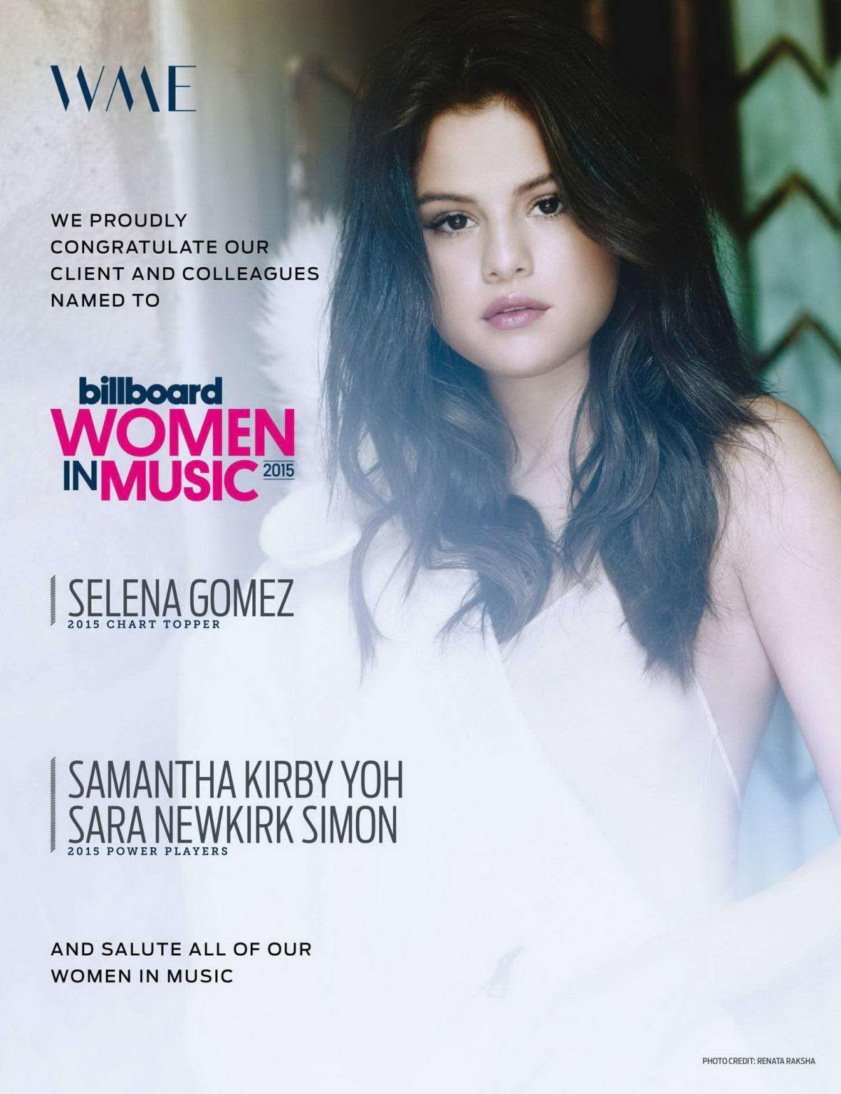 SELENA GOMEZ in Billboard Magazine, December 2015 Issue