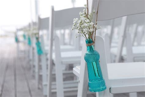Turquoise and Coral DIY Wedding Ceremony on the Chesapeake