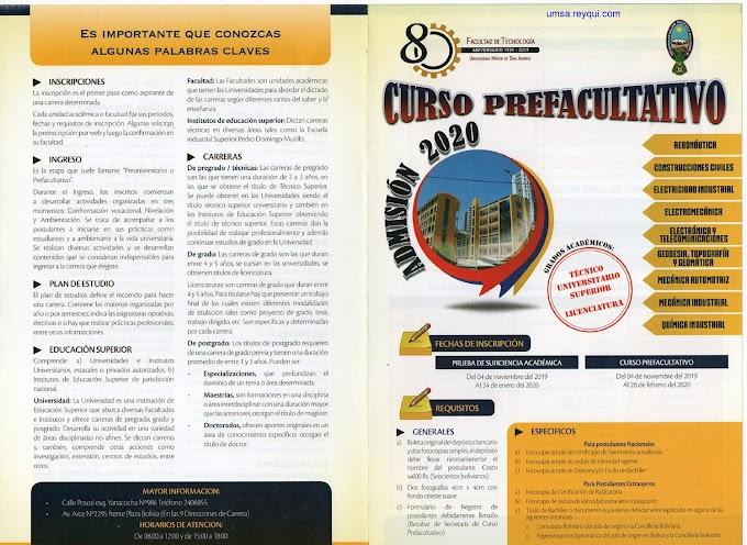Facultad de Tecnología UMSA 2020: Convocatoria al Curso Prefacultativo