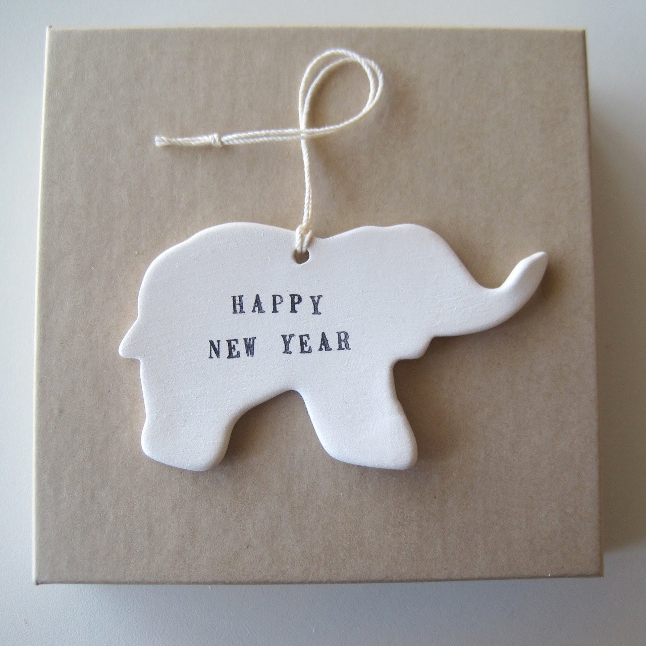 Elephant Ornament Happy New Year by Paloma's Nest