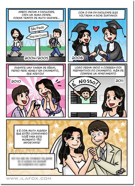 Convite em quadrinhos, convite personalizado com a história do casal, convite original para casamento, by ila fox