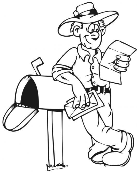 Mensajeria Tradicional Dibujo De Granjero Revisando Su Buzon De