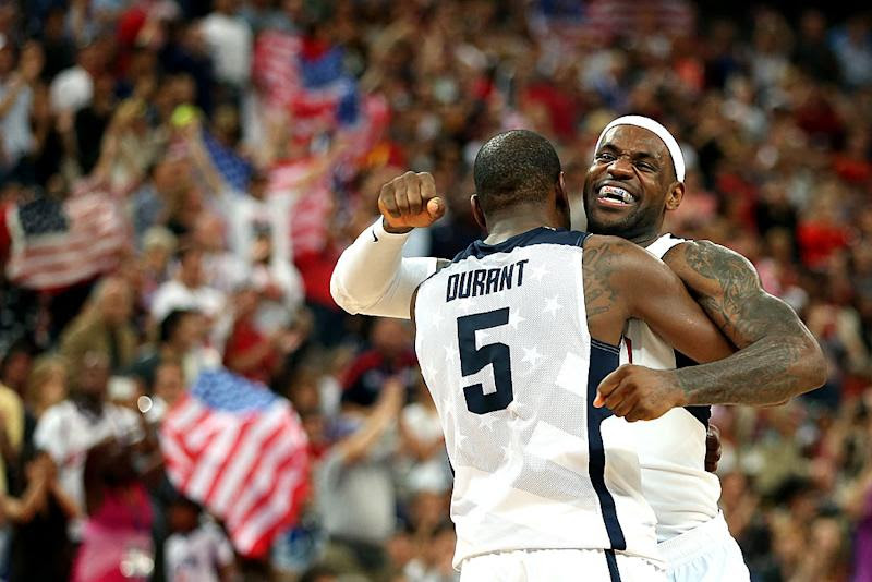 Kevin Durant and LeBron James could be the veteran anchors of Team USA 2020's frontcourt. (Christian Petersen/Getty Images)