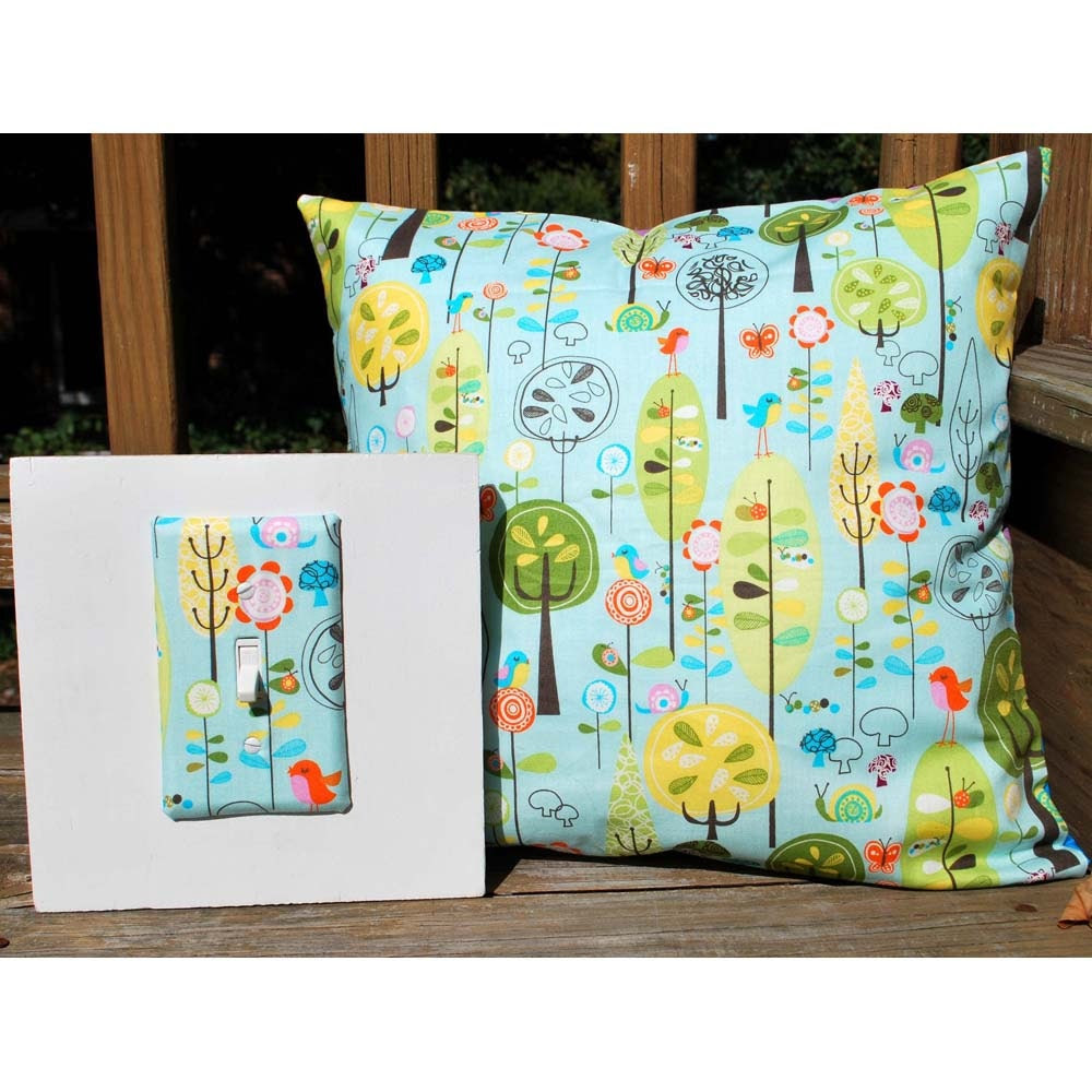 Light Switch Plate Cover and Pillowcase Set - blue with trees, gift set, wall decor, home decor
