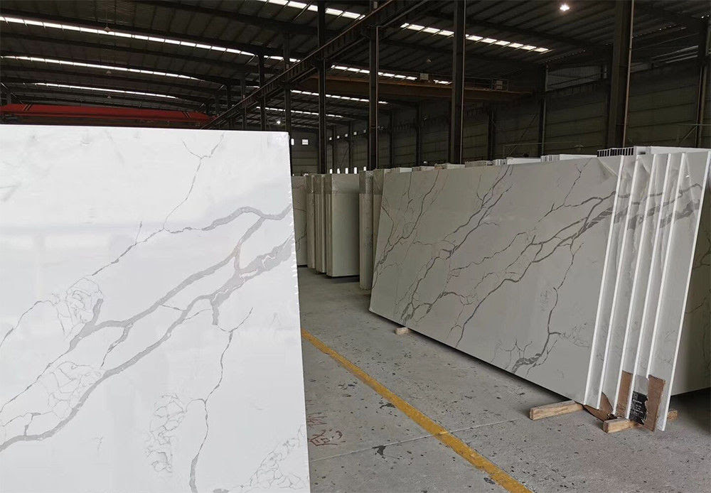 Gray Vein Calacatta Gold Quartz That Looks Like White Artificial Marble China Factory