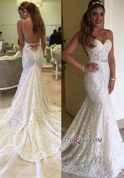 Backless Spaghetti Straps Lace Mermaid Elegant Wedding