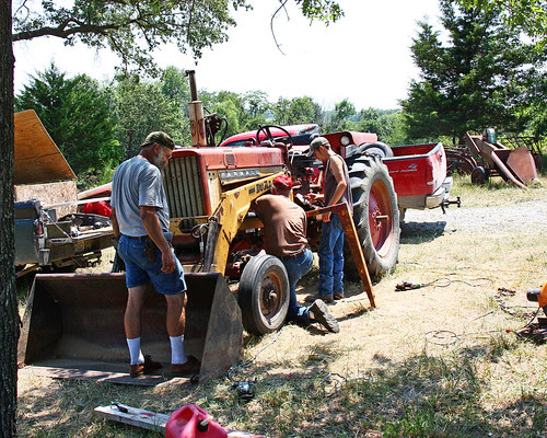 Working on the tractor