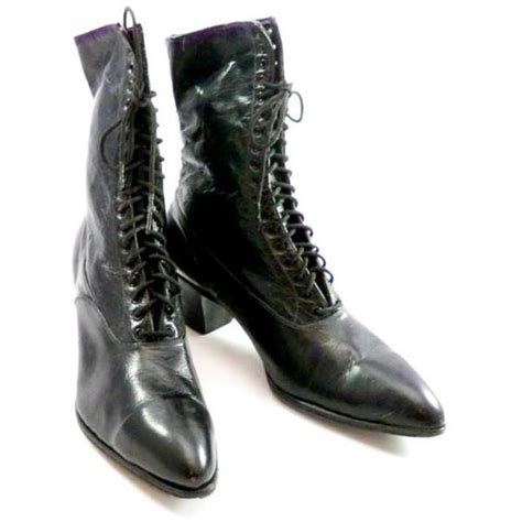 antique high top lace black leather boots womens titanic