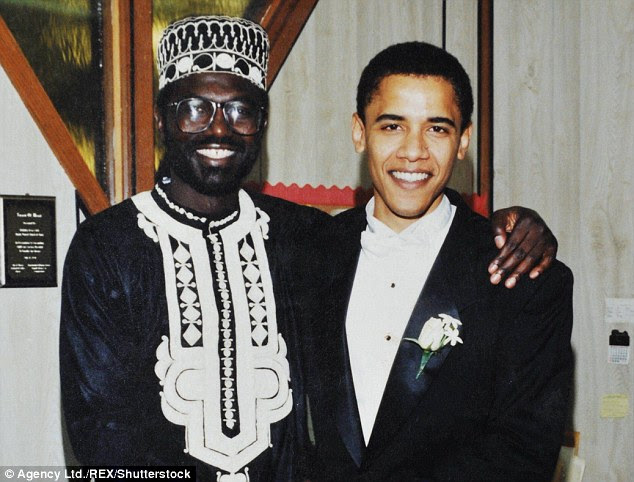 Malik Obama (left) is seen with his half-brother Barack Obama (right) on Barack's wedding day in Chicago on October 3, 1992