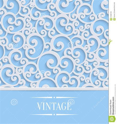 Vector Blue 3d Vintage Invitation Card With Floral Swirl