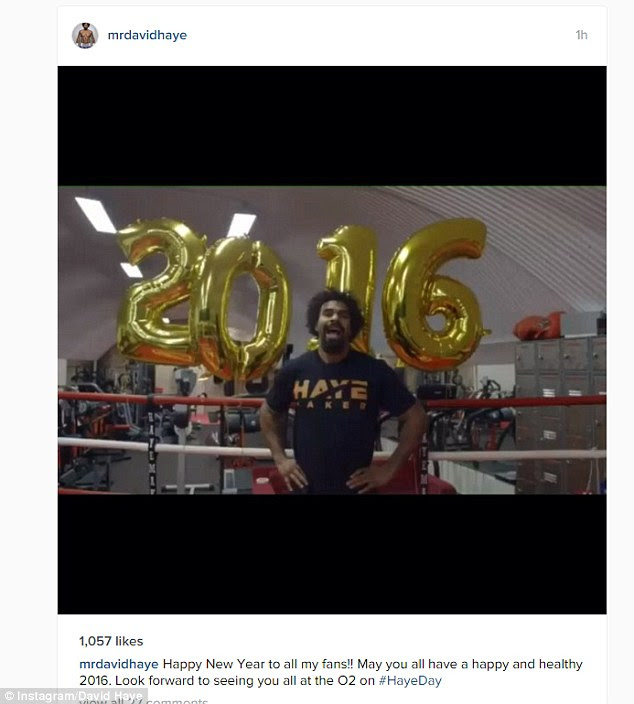 David Haye was in the gym on New Year's Eve as he prepares for his comeback fight on January 16