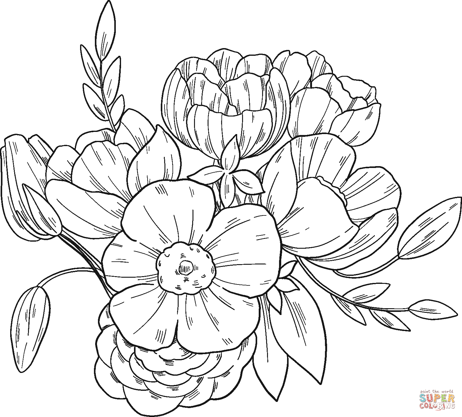 Flower Bouquet Coloring Page Free Printable Coloring Pages