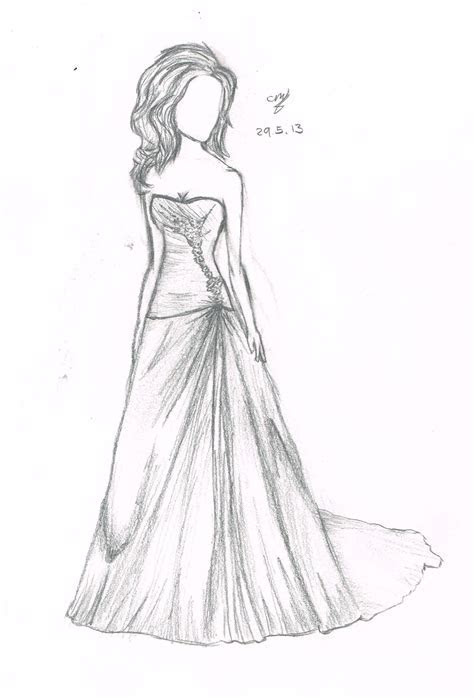 Drawn wedding dress easy draw   Pencil and in color drawn