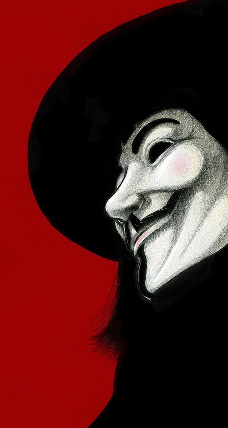 The Iphone Wallpapers V For Vendetta Red Background