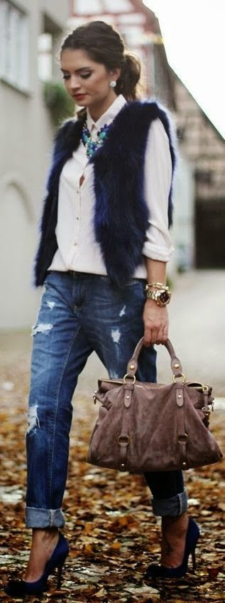 Boyfriend Jeans White Blouse Statement Necklace