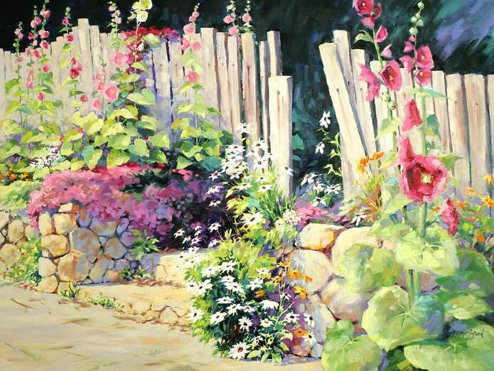 Hollyhock Garden by Julie Gilbert Pollard
