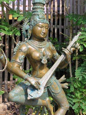 Hindu Goddess Saraswati Bronze Statue