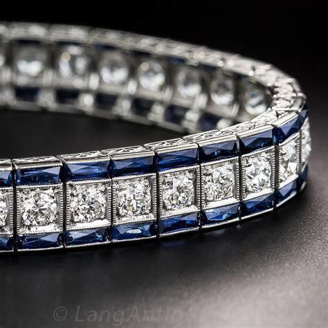 Art Deco Platinum Diamond and Sapphire Bracelet