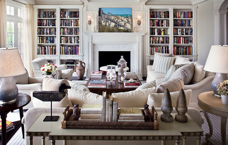 Suzie: Architectural Digest - Alexa Hampton - Gorgeous living room with built-ins flanking ...