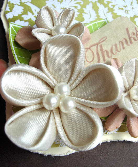 Thanks with Kanzashi Flowers