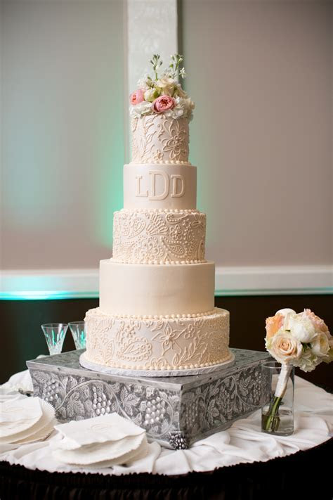 custom wedding cake blush lace detail monogram