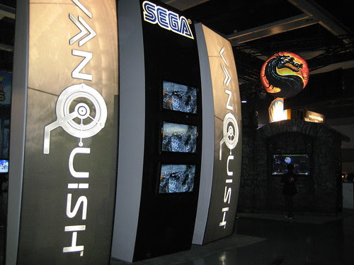 Outside the Vanquish area of the booth