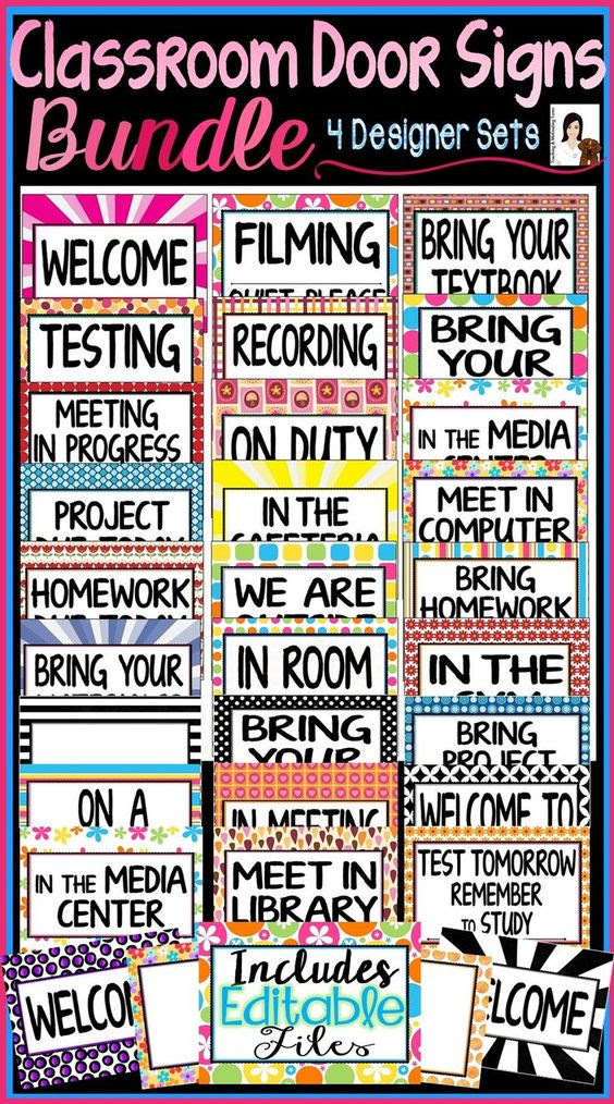 Door Signs for Back to School Middle & High School, Includes ...