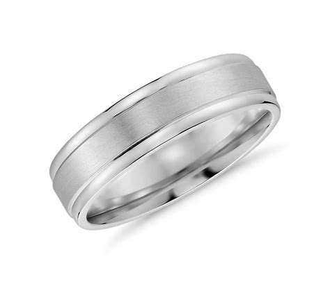 Brushed Inlay Wedding Ring in 14k White Gold (6mm)   Blue Nile