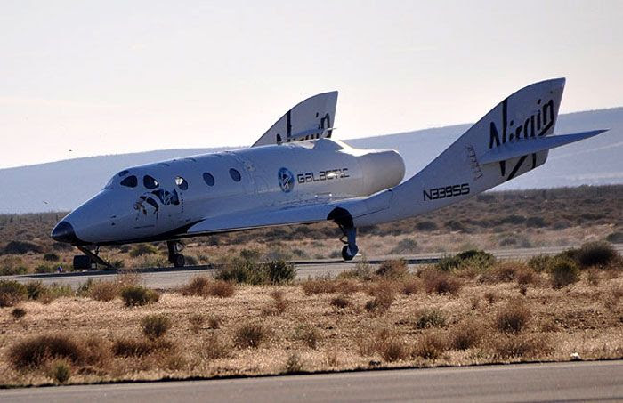 The VSS Enterprise lands at the Mojave Air and Space Port in Southern California after successfully completing its first manned glide flight, on October 10, 2010.
