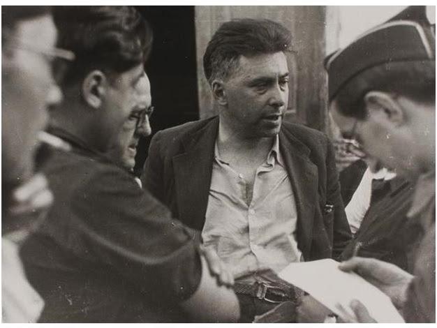 ilya ehrenburg en hueca, aragón, acompañado de jaume miravitlles y el periodista josep aymamí serra by augustí centelles